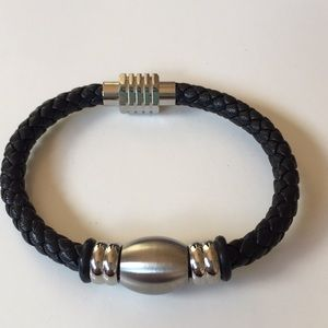 Braided Black Leather and Silver Magnetic Bracelet